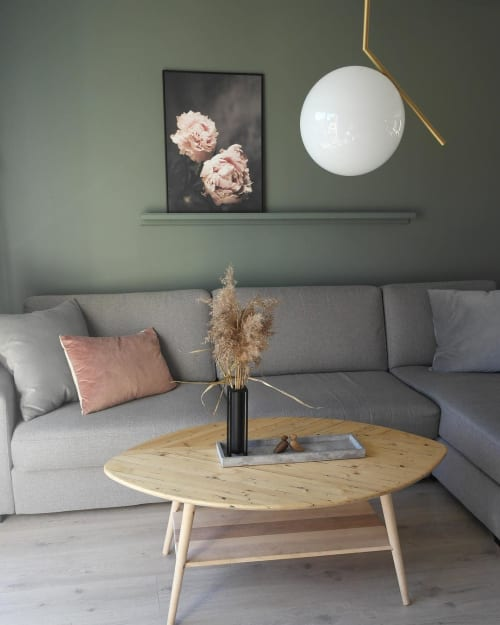Tables by HRDL seen at Private Residence, Tønsberg - Oval with storage shelf