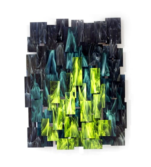 """""""Forest"""" Glass and Metal Wall Art Sculpture 