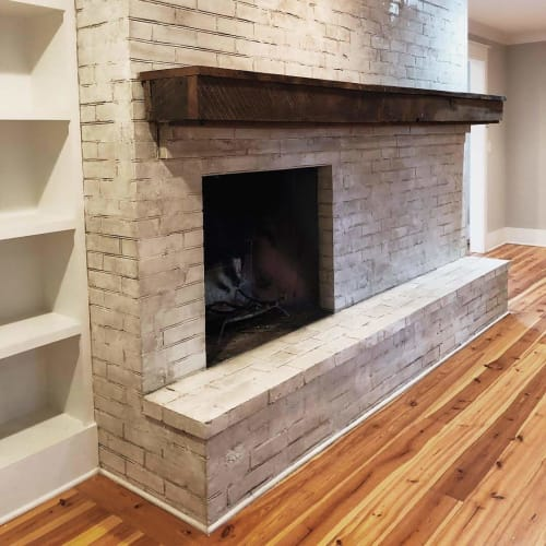 Fireplaces by EMILY POPE HARRIS ART seen at Private Residence, Mount Pleasant - Custom Paint and Plaster Finish on Brick