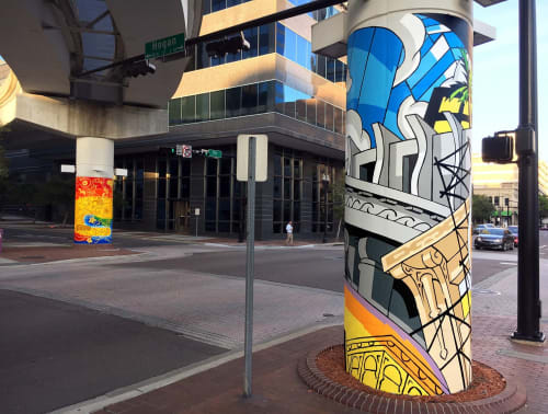 Street Murals by Andrew Reid SHEd seen at Downtown, Jacksonville - Eight Skyway Columns