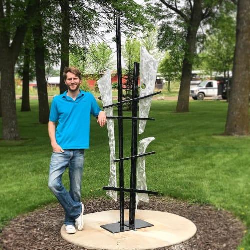 "Public Sculptures by Jon Kamrath seen at Riverside Jaycee Park, Hutchinson - ""Crossroads II"""