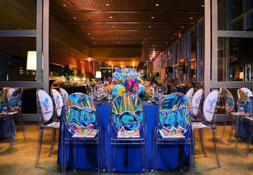 Murals by Mario E. Figueroa, Jr. (GONZO247) seen at The Grove, Houston - Art Chairs