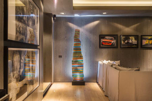 Lamps by Studio Orfeo Quagliata seen at Private Residence, Mexico City - MAGIKARPET LAMP Barcode Glass Lamp over Black Granite Lighting Base
