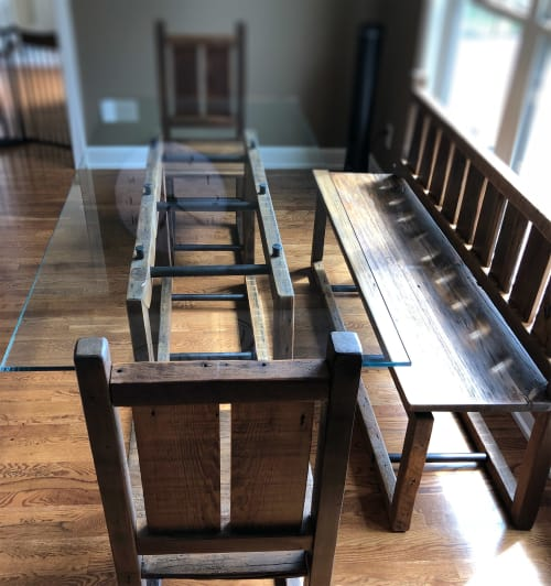 Tables by Abodeacious seen at Private Residence, Wake Forest - Modern Industrial rustic dining set