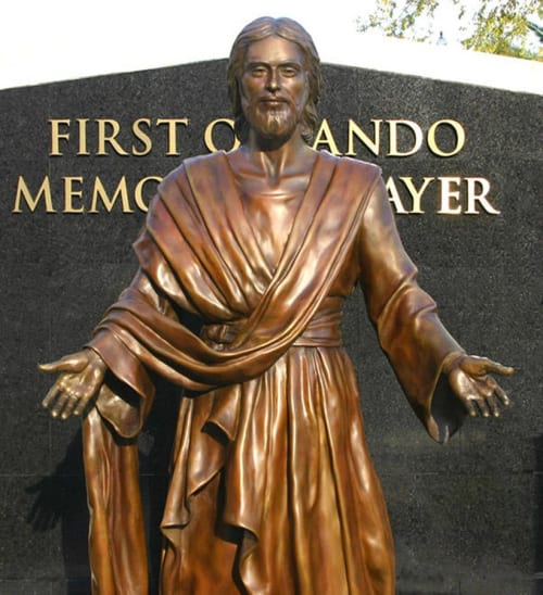 "Public Sculptures by Paula Slater Sculpture seen at First Baptist Orlando, Orlando - ""Come Unto Me"", Risen Christ"