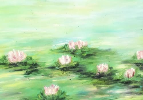 Paintings by Michelle B. Noah   Current Artist Workshop seen at Private Residence, Dallas - Water Lilies