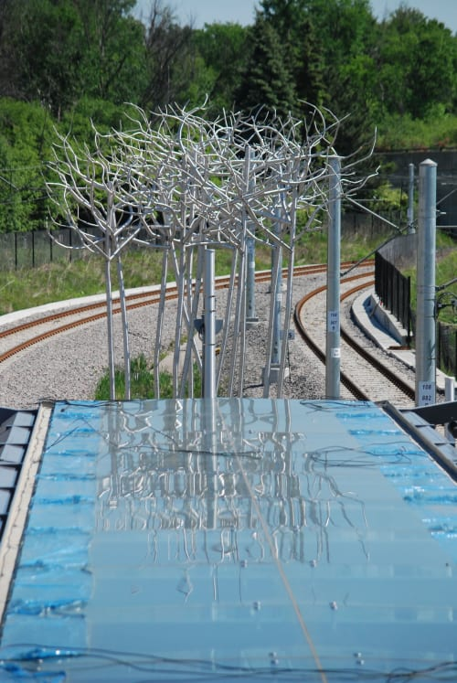 Public Sculptures by Don Maynard Studios seen at Cyrville O-Train East / Est, Ottawa - Stand of Birch