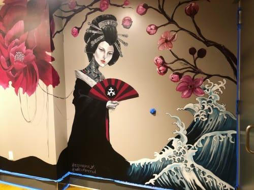 Murals by España Garcia seen at Wokou Ramen & Yakitori, San Diego - geisha