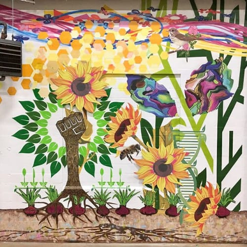 "Murals by Stacy Harshman Art seen at Vermont Farmers Food Center, Rutland - ""Collaboration""  Mural"