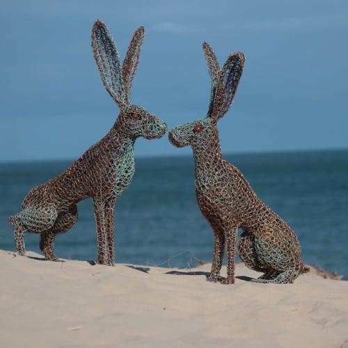 Public Sculptures by Emma Jane Rushworth seen at Brittas Bay, Brittas Bay - Kissing Hares