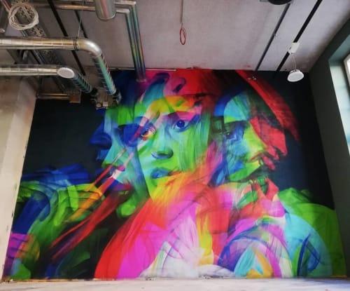 Street Murals by GERA 1 seen at JOHN REED Fitness, Leipzig - Restless Minds