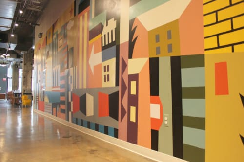 Murals by Kassel Illustration seen at Fort Street Galley, Detroit - Restaurant Mural