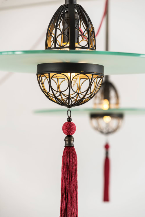 Pendants by Lutyens Furniture & Lighting seen at Private Residence, London - Cardinal Hat Lights