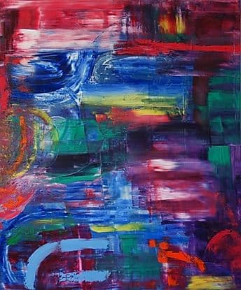 """Paintings by Aubrey Higgin seen at Docket No 64, Chester - """"PM"""" Abstract Painting"""