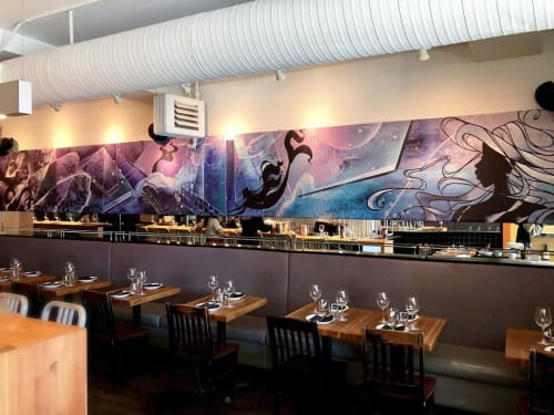 Paintings by Jessica Kakoske seen at Una Pizza + Wine, Calgary - Large Scale Art Installation