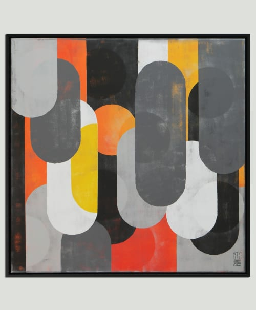 Paintings by Ronald Hunter seen at Roxier Art Gallery, Rotterdam - Traffic Mono - Incl. Frame
