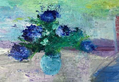Paintings by Maria-Victoria Checa Art seen at Bethesda, Bethesda - Blue Peonies Painting