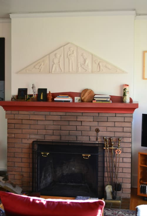 """Sculptures by Cynthia Lahti Fine Art seen at Private Residence, Portland - Safety Pediment Bas-Relief - 16"""" x 62"""" x 2"""""""