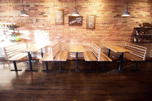 Tables by Wolf Wood Co seen at Sweetland Chocolates & Coffee, Rockford - Maple tables and benches