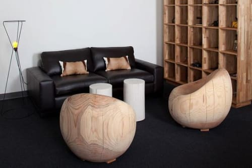 Tables by Pfeifer Studio seen at Instagram, San Francisco - Pintado Log Tables