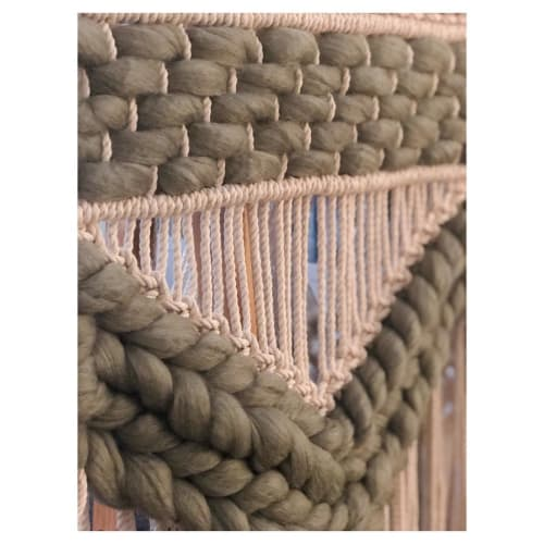 Macrame Wall Hanging by Oak & Vine seen at Armature Works, Tampa - Earthy Green Macrame Weaved Wall Hanging