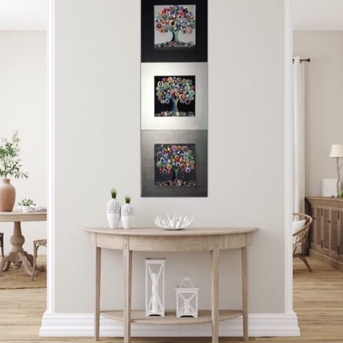 Art & Wall Decor by Cami Levin seen at Private Residence - Triptych Trees of Love