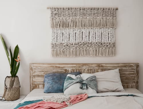 Macrame Wall Hanging by Ranran Design by Belen Senra seen at Private Villa, Bali Indonesia - Macrame Headboard