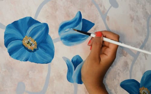 Murals by Perveen Kaur seen at Private Residence, London - Himalayan Blue Poppy