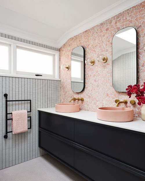 Water Fixtures by Nood Co. seen at Private Residence, Kirribilli - Blush Pink Bowl Sinks