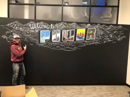 Murals by Josh Scheuerman seen at Woodward Park City, Park City - Welcome to Powdr