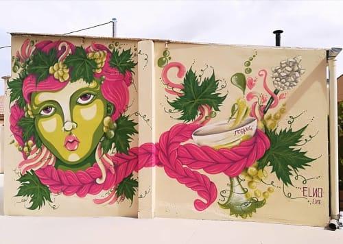 Murals by ELNO seen at Bodega Solar de Muñosancho, La Seca - Dionisio