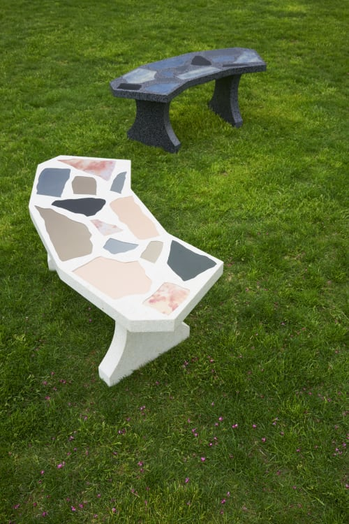 Benches & Ottomans by Robert Sukrachand seen at Inside/Out - The Vale Park, Brooklyn - Mirror Terrazzo Benches