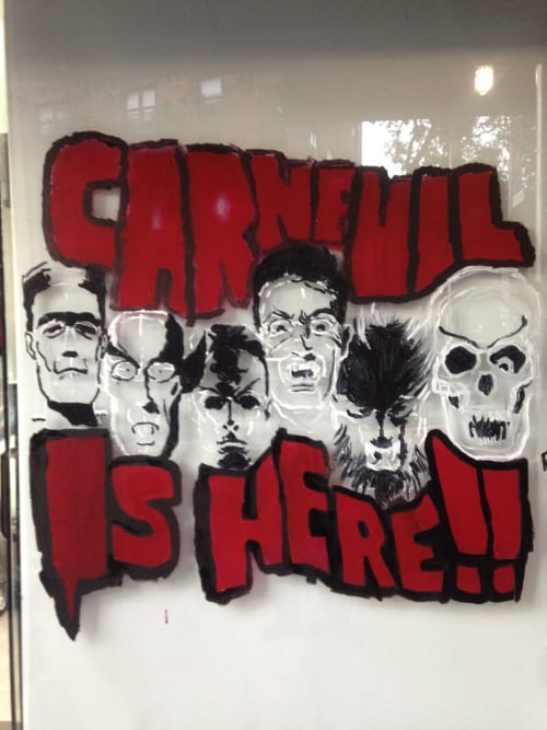 Murals by Rich T. seen at Harlem, New York - Carnevil Is Here.