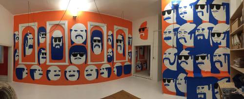 Murals by Tom Gerrard seen at Bromley & Co, Windsor - David Bromley's Studio Mural