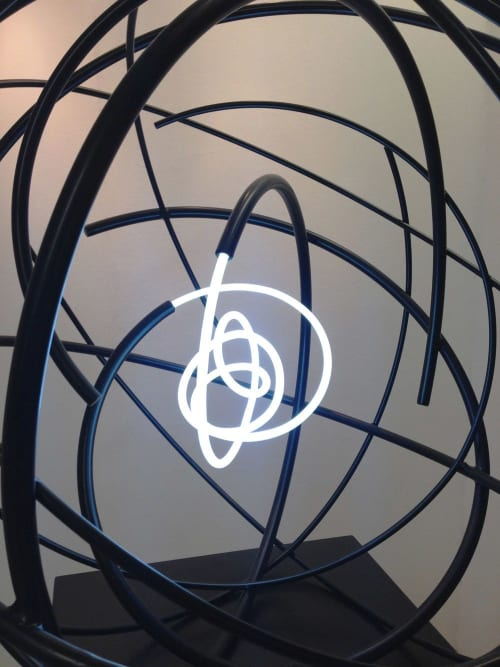 Sculptures by Mark Beattie MRSS seen at M Victoria St, London - Neon Orb