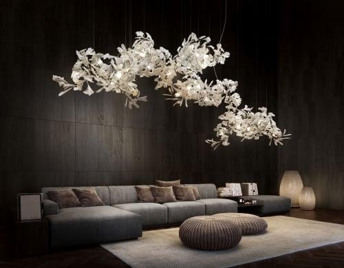 Chandeliers by ANDREEA BRAESCU PORCELAIN AND LIGHT INSTALLTIONS seen at Private Residence, Bucharest - Light Sculpture Ginkgo B 700