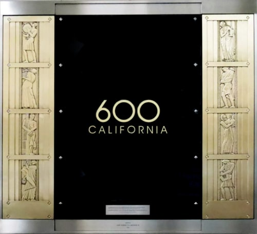Public Sculptures by Lee Lawrie seen at 600 California, San Francisco - Elevator Doors Depicting Allegorical Figures
