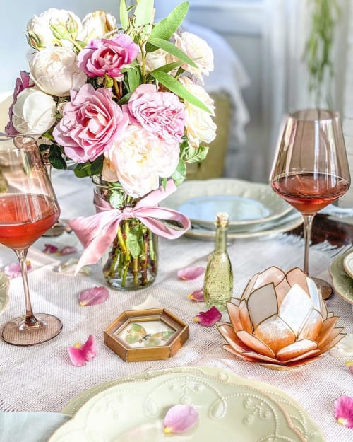 Tableware by Estelle Colored Glass seen at Private Residence, Charleston - Estelle Colored Wine Stemware - Amber Smoke