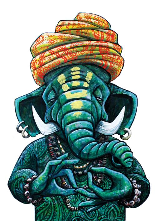 Murals by Lion Fleischmann seen at Sthira Yoga Amsterdam, Amsterdam - Baba elephant