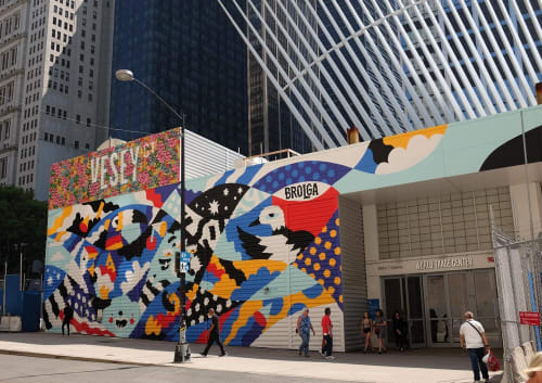 Street Murals by Brolga seen at World Trade Center, New York - World Trade Centre Mural
