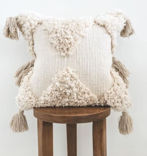 Pillows by Busa Designs LLC seen at Private Residence - Natural Bohemian Tassel Pillow Cover