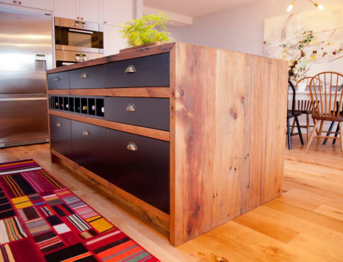 Furniture by SILVIE VARONE design & build seen at Private Residence, Toronto - Reclaimed Kitchen Island