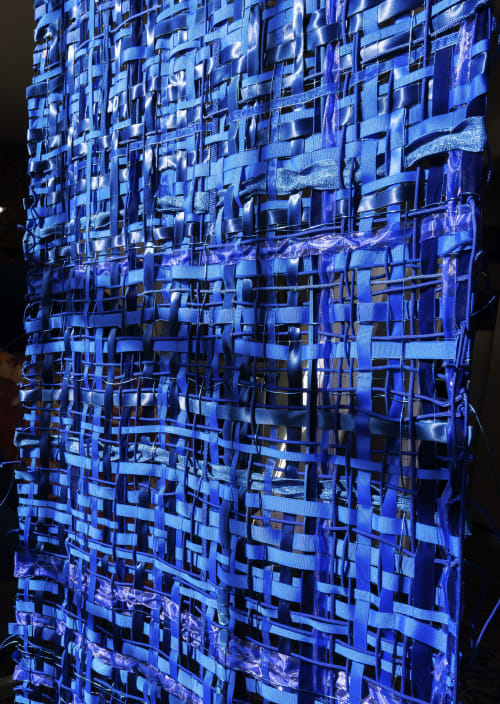 "Wall Hangings by ANTLRE - Hannah Sitzer seen at Google RWC SEA6, Redwood City - ""Blue Weaving"""