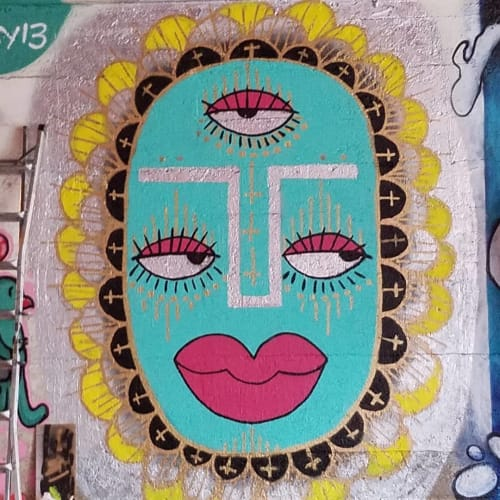 Murals by Natalia Virafuentes seen at East 93rd Street & South South Chicago Avenue, Chicago - Blue face with Pink lips