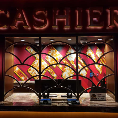 Murals by Jerry Misko seen at Golden Gate Casino Hotel, Las Vegas - Gilded Cage