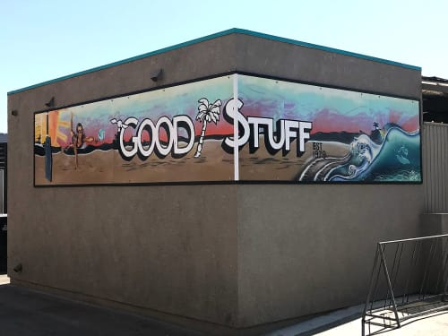 Street Murals by Trent Thompson seen at Good Stuff Restaurant, Hermosa Beach - Good Stuff Mural