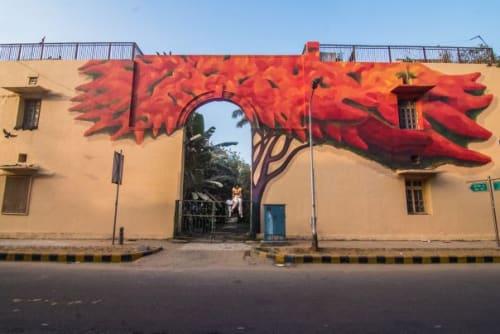 Street Murals by Anpu Varkey seen at Lodi Colony, New Delhi - Lava Tree
