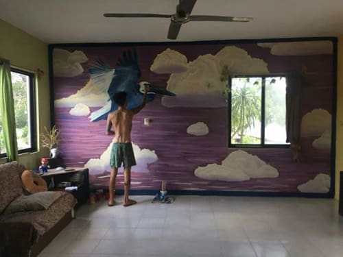Murals by Chispart seen at Private Residence, Tulum - Fly