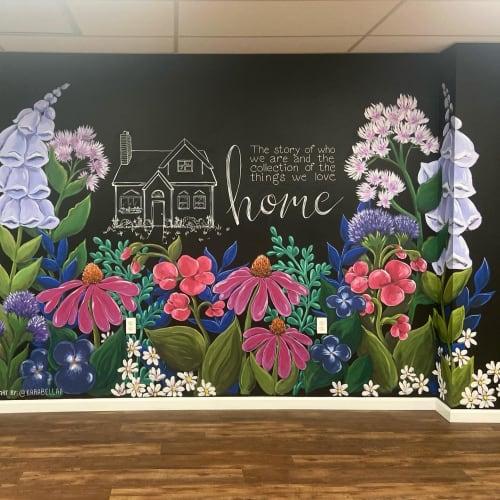 Painted floral mural | Murals by Kara Bella Art