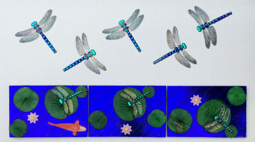 Sculptures by Mark Ditzler Glass Studio, LLC seen at Lucile Packard Children's Hospital Stanford- Oncology, Palo Alto - Fused Glass Dragonfly Mural